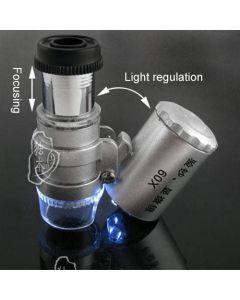 Zakmicroscoop 60x met LED en UV verlichting.