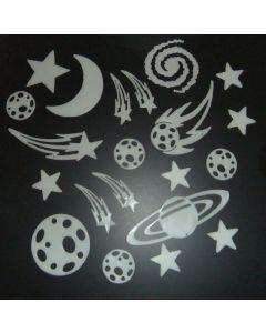 Glow in the dark sterren, manen, planeten en saturnen