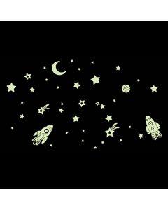 Glow in the dark stickervel Sterren en ruimteschepen