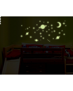 Glow in the dark stickervel Maan, planeten en Sterren