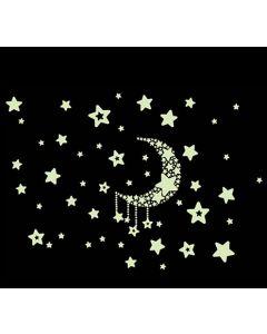 Glow in the dark stickervel Maan en Sterren